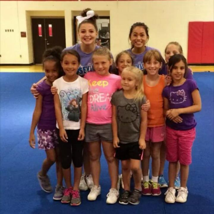Roseville cheer sets examples for little cheer leaders to follow.