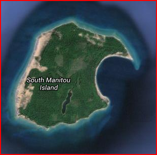 South Manitou Island from a satellite view.