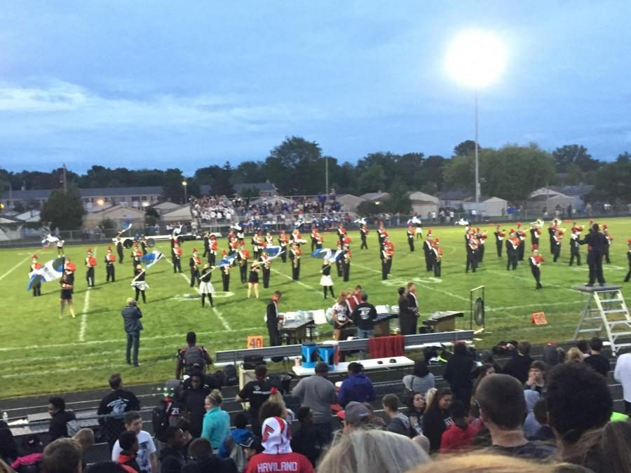The band entertains both Lakeview and Roseville during halftime of the game.