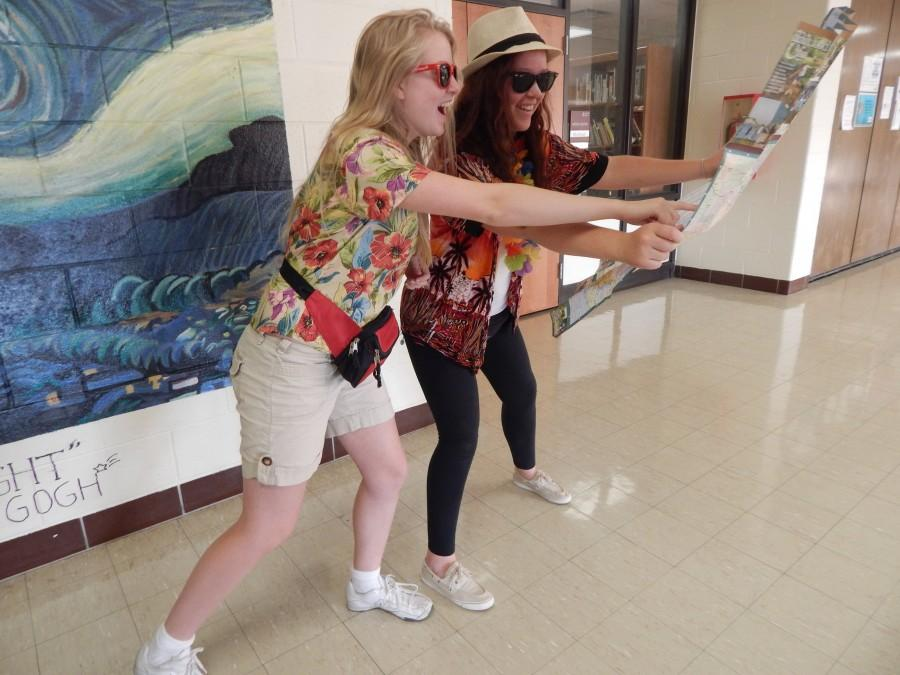 Alyssa+Schultz+and+Eryn+VanderVlucht+showing+off+their+school+spirit+in+their+tourist+clothes