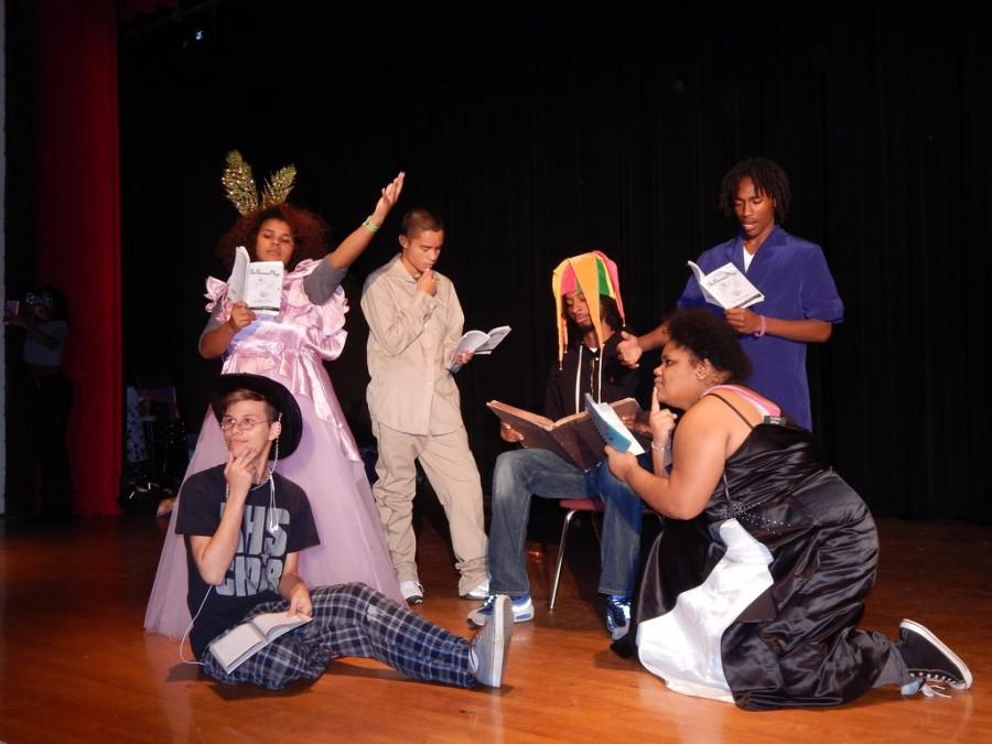 Drama students prepare for the fall performance. The Princess Plays.