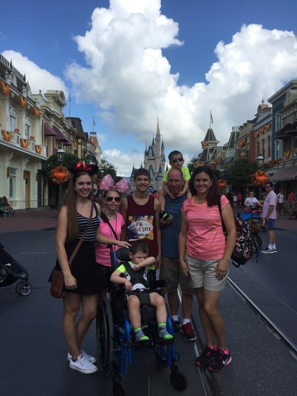 A picture perfect moment captured by all seven members of the Major family as they enjoy Nathan's wish at Disney World.