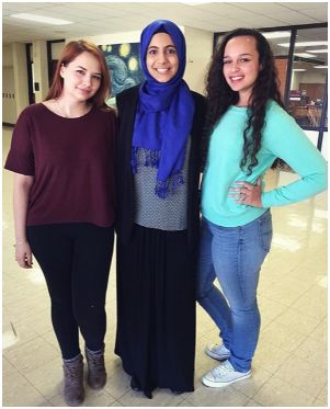 Fatimah with her friends Jenna Stanley and Jalissa Long-Jolley.