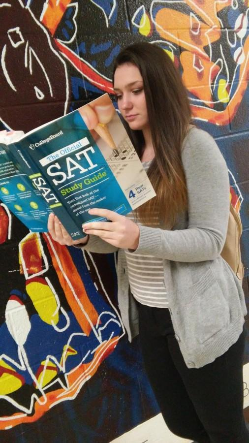 Junior Julie Camarata begins studying for the SAT in April.
