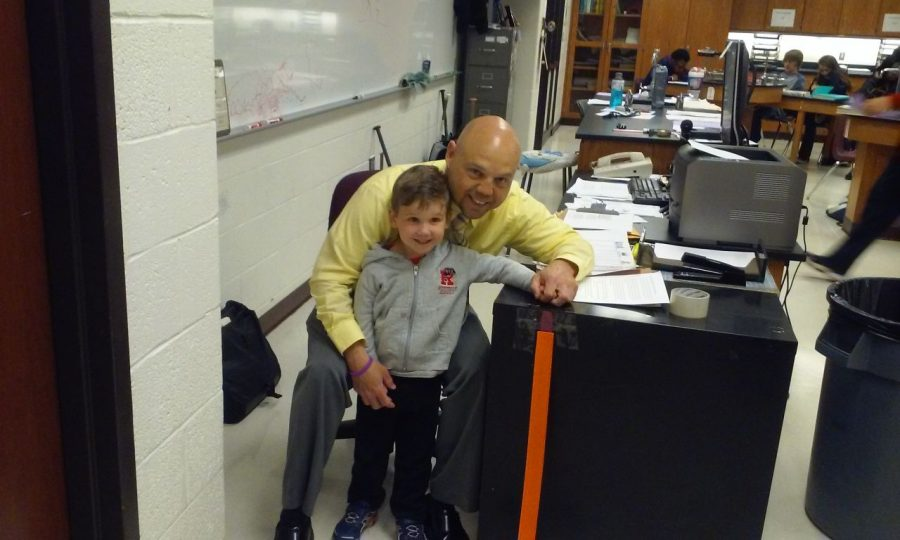 Mike and Sonny Zimmer have fun on bring your child to work day.
