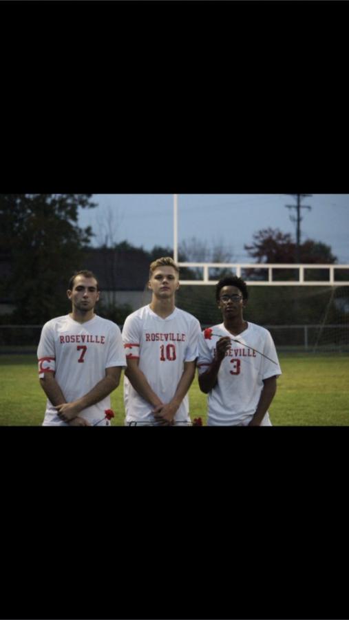 Senior co-captains #10 Austin Lorentzen, #7 Noah Daudlin, #3 Kaleb Taylor-Terry