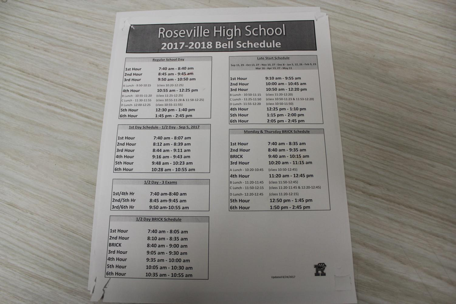 The school schedule