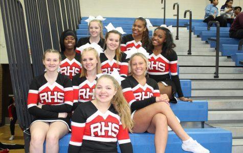Varsity cheer team before their performance