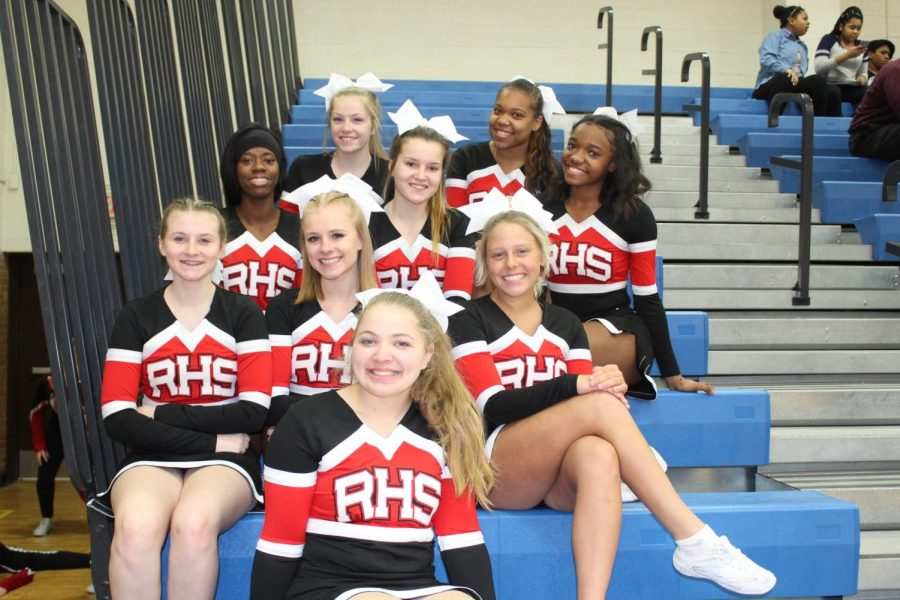 Varsity cheer team before their performance