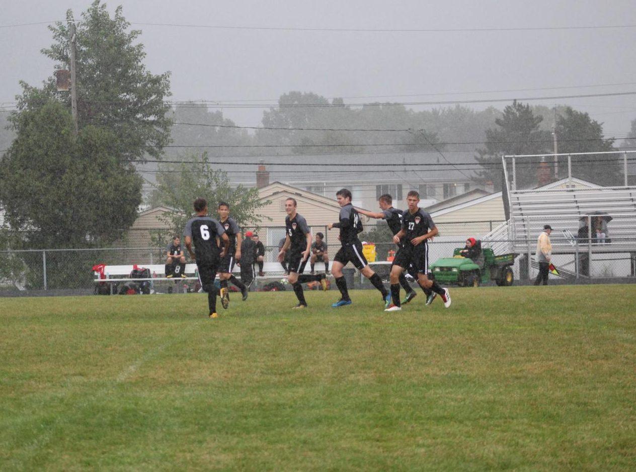 The team celebrating a goal.