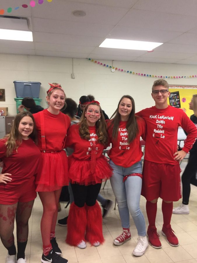Juniors wearing the class color of red.