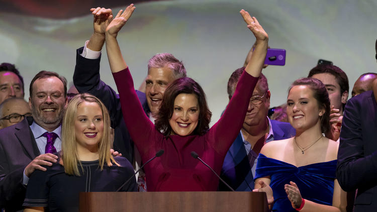Democrat Gretchen Whitmer accepting her newly elected position as governor of Michigan.