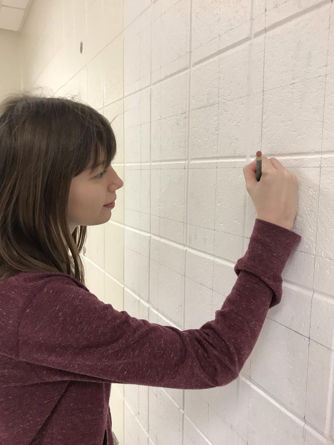 Senior Caitlyn Hudek continues to work on the grid for the mural.