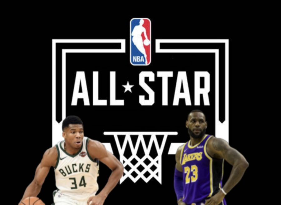Giannis+Antetokounmpo+against+Lebron+James+in+the+2019+NBA+All+Stars.