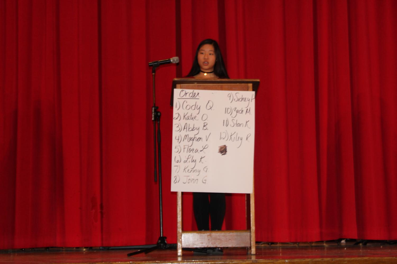 Junior Flora Luo giving her speech.
