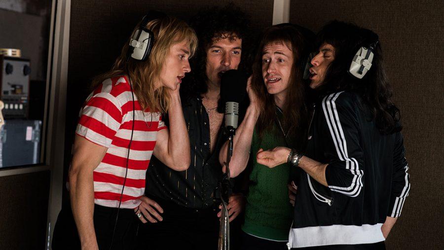 L-R: Roger Taylor (Ben Hardy), Brian May (Gwilym Lee), John Deacon (Joe Mazzello), and Freddie Mercury (Rami Malek)