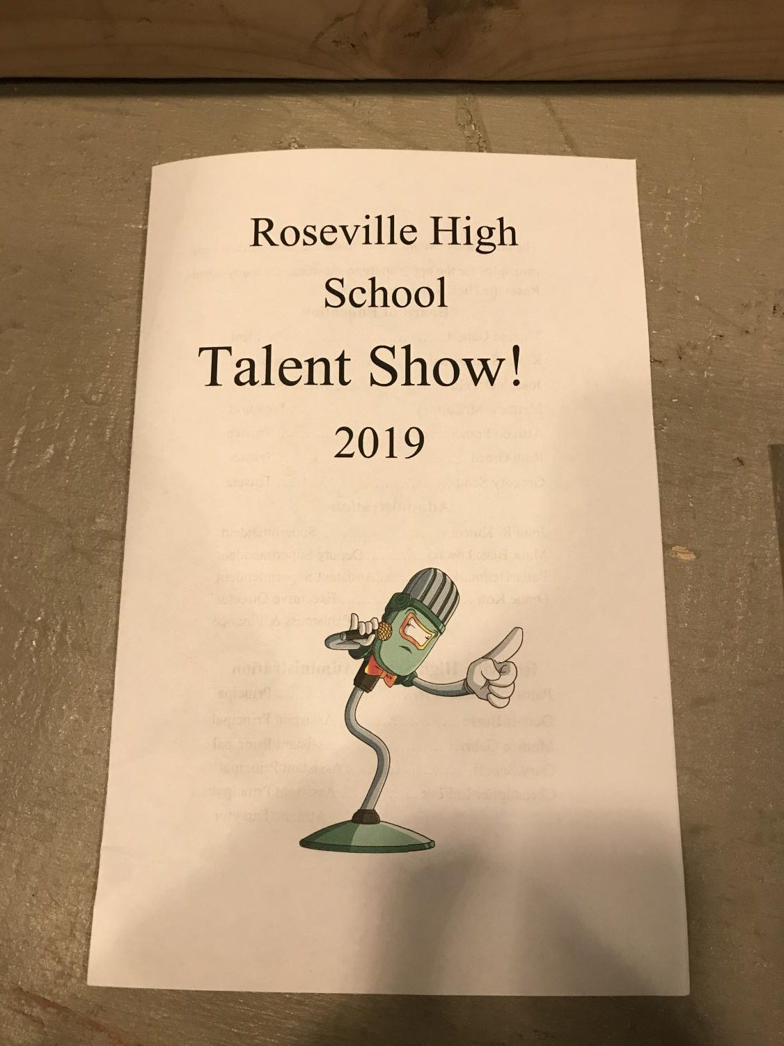 The programs that were handed out at the talent show.