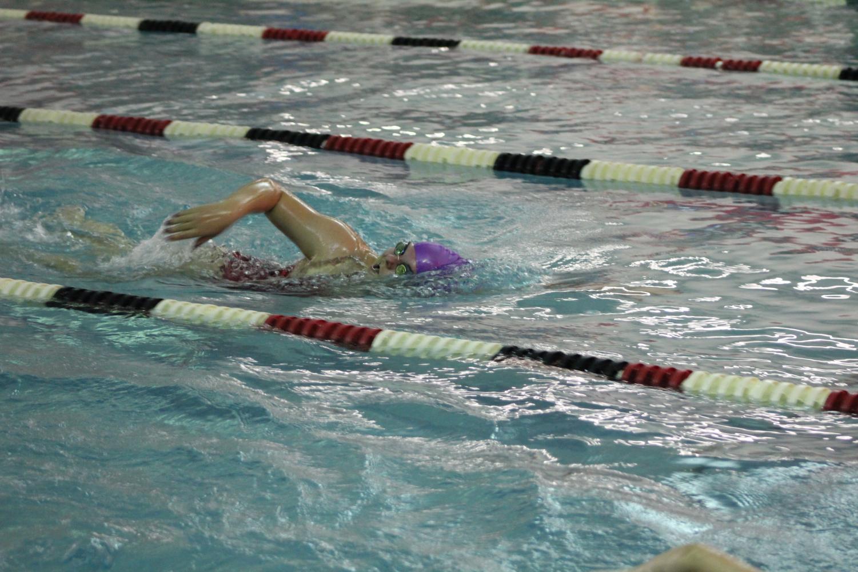 Senior Lexie Syacsure swims the 500 freestyle.