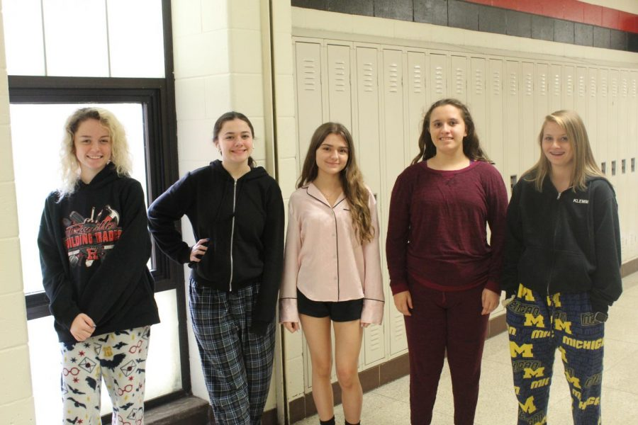 Juniors participating in pajama day