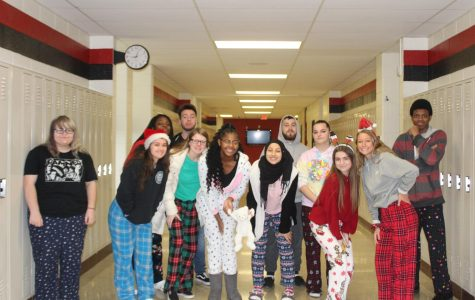 News and Broadcasting students show their spirit by participating in pajama day.