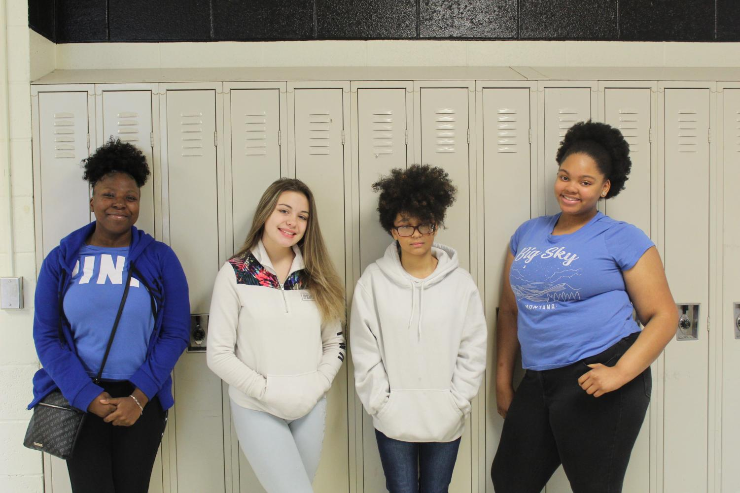 Students show holiday spirit by wearing blue and white.