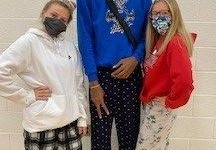 To kick off spirit week, seniors Hayleigh Klemm, Diontae Russell-Johnson and Alyssa Dix dress up in their pajamas.