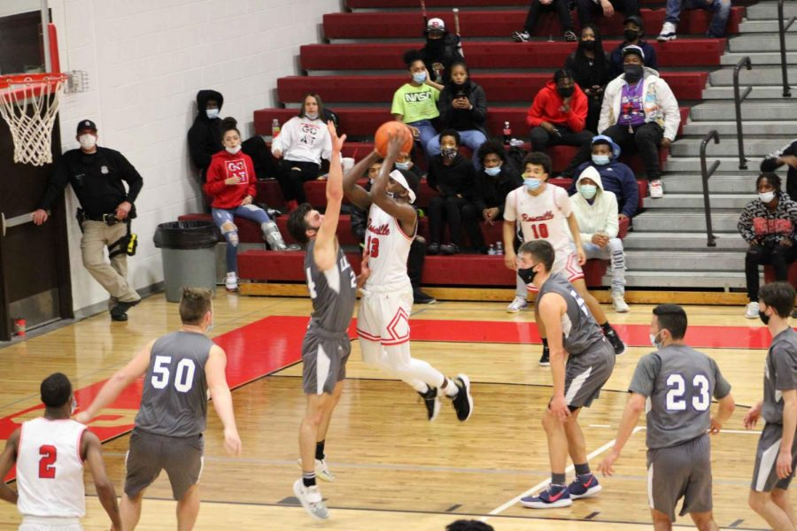 Sophomore Makell Dobbs putting up some of his many points.