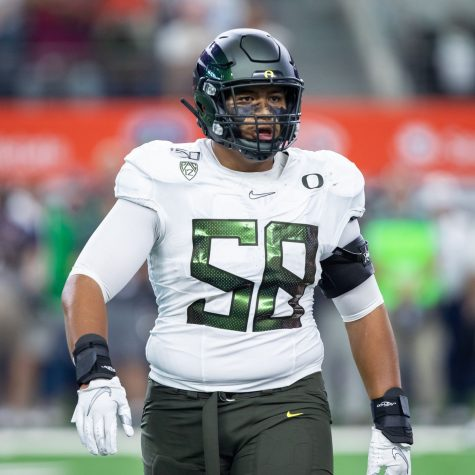 Lions OT Penei Sewell (20) is regarded as one of the better offensive line prospects over the last decade.